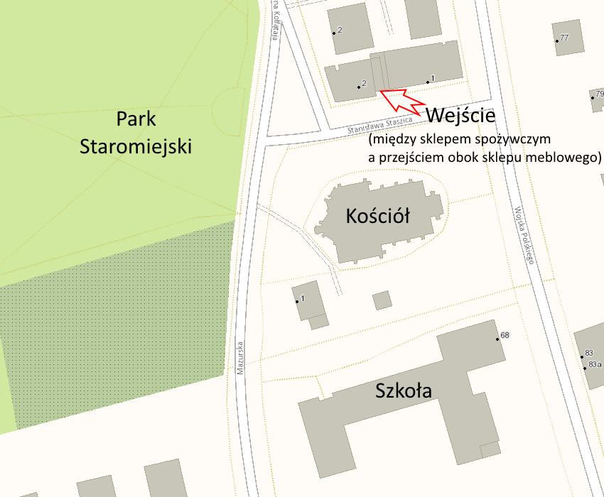 Lokalizacja Działu Usług na mapie.